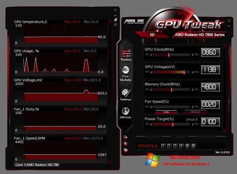 Ekran görüntüsü ASUS GPU Tweak Windows 7