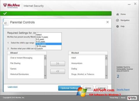 Ekran görüntüsü McAfee Windows 7