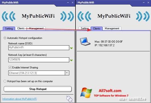 Ekran görüntüsü MyPublicWiFi Windows 7