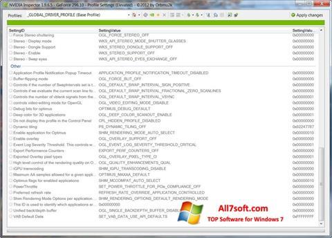 Ekran görüntüsü NVIDIA Inspector Windows 7