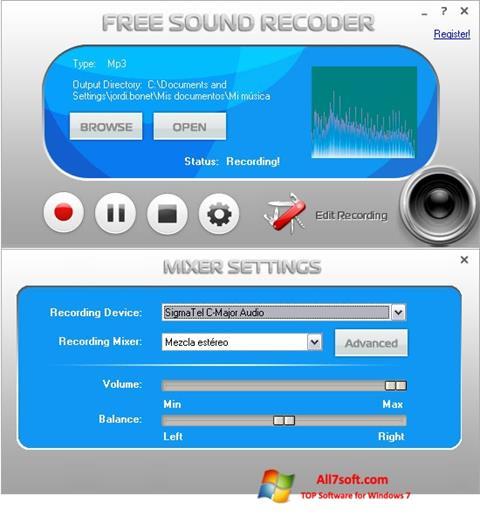 Ekran görüntüsü Free Sound Recorder Windows 7