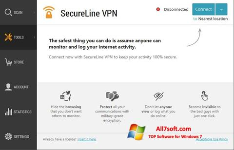Ekran görüntüsü Avast SecureLine VPN Windows 7