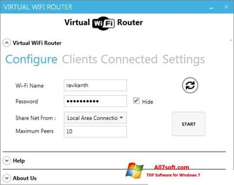 Ekran görüntüsü Virtual WiFi Router Windows 7