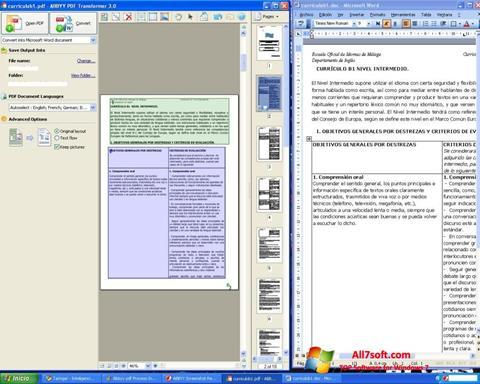 Ekran görüntüsü ABBYY PDF Transformer Windows 7