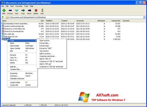 Ekran görüntüsü 7-Zip Windows 7