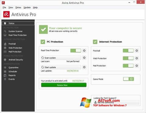 Ekran görüntüsü Avira Antivirus Windows 7