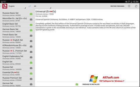 Ekran görüntüsü ABBYY Lingvo Windows 7