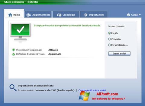 Ekran görüntüsü Microsoft Security Essentials Windows 7