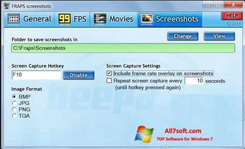 Ekran görüntüsü Fraps Windows 7