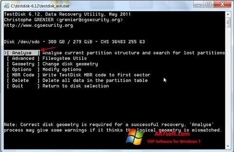 Ekran görüntüsü TestDisk Windows 7