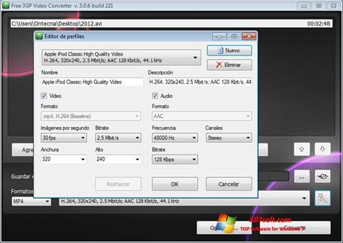 Ekran görüntüsü Free MP4 Video Converter Windows 7