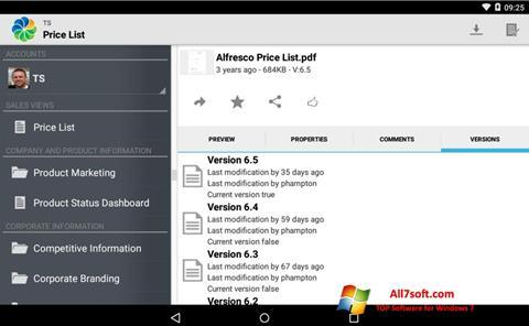 Ekran görüntüsü Alfresco Windows 7