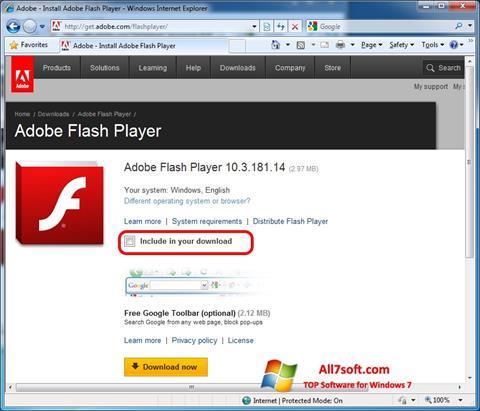Ekran görüntüsü Adobe Flash Player Windows 7