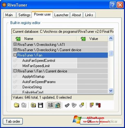 Ekran görüntüsü RivaTuner Windows 7