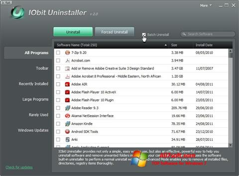 Ekran görüntüsü IObit Uninstaller Windows 7