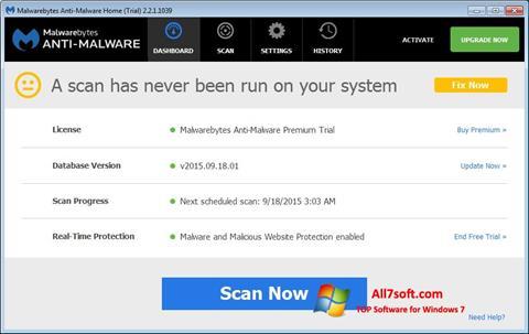 Ekran görüntüsü Malwarebytes Anti-Malware Free Windows 7