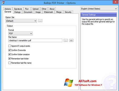 Ekran görüntüsü BullZip PDF Printer Windows 7