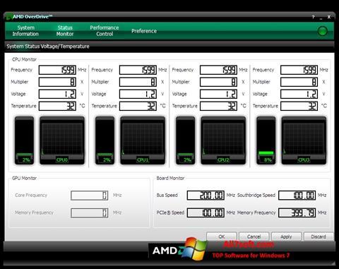 Ekran görüntüsü AMD Overdrive Windows 7
