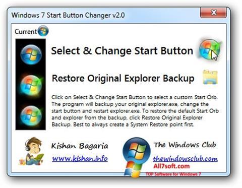 Ekran görüntüsü Windows 7 Start Button Changer Windows 7