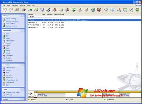 Ekran görüntüsü Acronis Partition Magic Windows 7